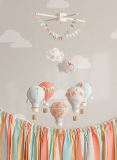 Coral and Aqua Baby Mobile, Hot Air Balloon, Baby Mobile, Travel Theme Nursery, Nursery Decor, Custom Mobile, i64