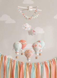 Hot Air Balloon Baby Mobile, Coral and Aqua, Travel Theme, Nursery Decor, Custom Mobile Travel Theme Nursery, Baby Nursery Themes, Baby Decor, Kids Decor, Girl Nursery, Nursery Decor, Nursery Mobiles, Nursery Ideas, Themed Nursery