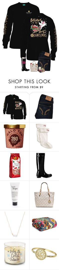 """Try to be a rainbow in someone else's cloud."" by jessicasmith17 ❤ liked on Polyvore featuring Hollister Co., Hunter, Jelly Belly, philosophy, MICHAEL Michael Kors, Kendra Scott, Vera Bradley and Alison & Ivy"
