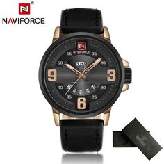 Mens Watches Top Brand Luxury NAVIFORCE Sports Watch Men Military Leather Quartz-watch