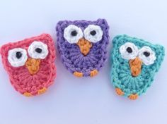 🐥 Aplique de Corujas em Crochê  - / 🐥 Apply than Owls up Crocheting -
