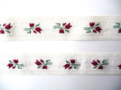 Wonderful for baby linen! The trim is cut in two parts: 1 - x 2 - x The price and shipping is for the two of them. Vintage Cotton, Band, Red Flowers, Dark Red, Gift Guide, Craft Supplies, Ribbon, Embroidery, Cool Stuff