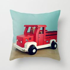 Toy Fire Truck Pillow - Vintage Wooden Fire Truck Toy, Nursery, Bedding, Decor…