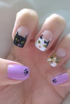 Kitty Nails! So adorable! How would they do that?