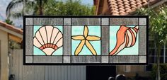 stained glass starfish   SEA SHELLS - Large Stained Glass Window Panel or Transom with Ocean ...