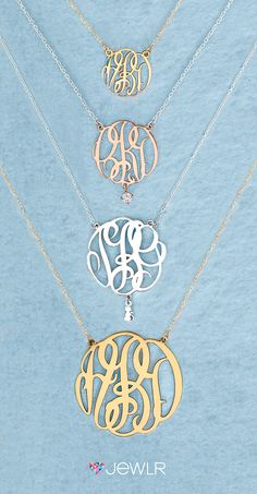 Design your own stunning Monogram Necklace. Choose from 4 sizes and instantly…