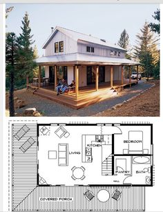 www. Cottage Home Plans Cottages are heat, quaint, and welcoming. Our cottage home plans embrace designs with bungalow and Craftsman t. Cabin Plans With Loft, Cabin Floor Plans, Barn House Plans, Small House Plans, Cottage House Plans, Bedroom House Plans, Cottage Homes, Tiny House Cabin, Tiny House Design