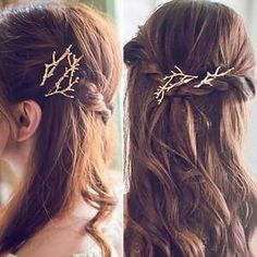 Cheap hair clips for girls, Buy Quality metal hair clips directly from China wholesale metal hair clips Suppliers: Tree Branch Leaf Shape Hairpins Wholesale Korean Metal Hair Clips for Girls Hair Accessories for Women Barrettes Bobby Pins Pigtail Hairstyles, Bobby Pin Hairstyles, Braided Hairstyles, Witchy Hairstyles, Formal Hairstyles, Hairstyles Pictures, Trending Hairstyles, Gold Fashion, Runway Fashion