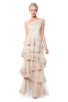 Satin Piping One Shoulder Tiered Gown - Evening Gowns - Evening Shop | Tadashi Shoji $468