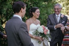 Matt Shumate Photography at Lawson Gardens outdoor summer wedding ceremony happy bride laughing during ceremony
