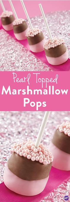 Easy Pearl Topped Marshmallow Pops - Marshmallows become a special treat for the eyes and the taste buds! Just make them into delicious pops using Candy Melts Candy and shimmering Wilton Sugar Pearls. They are perfect for baby showers, wedding showers and even birthday parties!