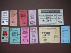 1960年代から1970年代を中心としたイギリスの使用済み劇場チケット5枚セットです。