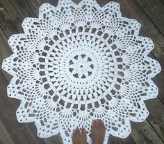 White Cotton Crochet Doily Rug in 1M 100CM 39.37 Circle
