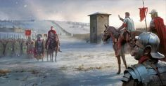 Roman Legionaries and Auxiliaries at the Danubian 'Limes' (frontier) in Winter. Early Second Century AD.