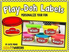 Put a little more fun and cuteness into Play-Doh time with these personalized playdough lables.Use these labels for the first day of Kindergarten, a special birthday favor or just to label any of your Play-Doh containers!!Read more about how I used these labels HERE.Don't forget to follow my TPT store if you enjoyed this freebie!!xoxoxKatie Menselittlekinderwarriors.com