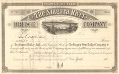 Niagara River Bridge Company stock certificate circa 1883. (New York)