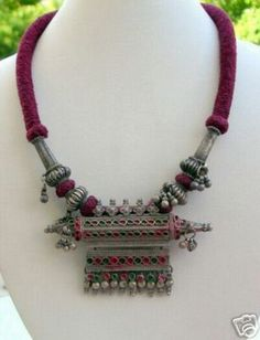 ETHNIC TRIBAL OLD SILVER NECKLACE RAJASTHAN INDIA, Tribal bridal Indian jewelry.