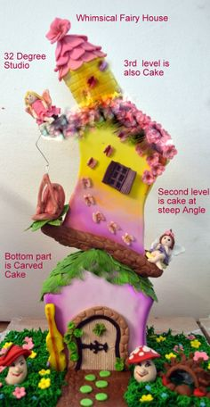Whimsical Fairy House Cake at 32 Degree Studio.