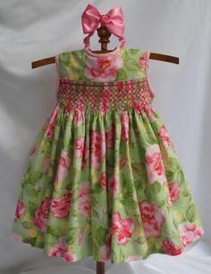 París rosa mano Smocked bebé vestido 6 meses por myheavenlydesigns