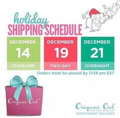 Origami Owl 2014 Holiday Shipping Schedule. Order online at JaimeBrockway.OrigamiOwl.com