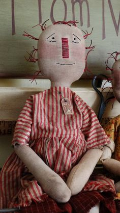 Handstitched Primitive Raggedy Anne Rag Doll by kerriemoodydesigns on Etsy