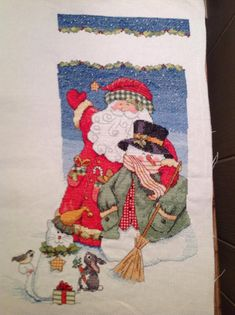 You will love this Christmas Cross Stitched Stocking I guarantee it. When you purchase this 16 Long Christmas Stocking I will offer Free of charge to hand stitch your loved ones name on the Christmas Stocking. Cross Stitch Christmas Stockings, Cross Stitch Stocking, Xmas Stockings, Cross Stitch Kits, Christmas Cross, Christmas Dog, Christmas Shirts, Christmas Sweaters, Santa Stocking