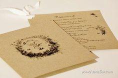 Ekologiskt Inbjudningskort, Lantligt Inbjudningskort,  Ekologiskt bröllop.  Tillverkade av 100% återvunnet SVENSKT kvistpapper. 12 sek/ st