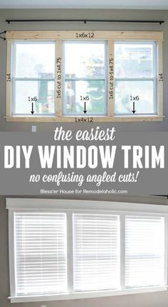 DIY tutorial for installing the easiest DIY window trim. This craftsman style trim requires NO confusing angled cuts, so it's easy for anyone to do, even a beginner @Remodelaholic