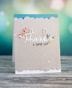 Thanks card by Heather Hoffman - Paper Smooches - Borders1 Dies, Thanks Word Die, Hearts Dies, Many Thanks