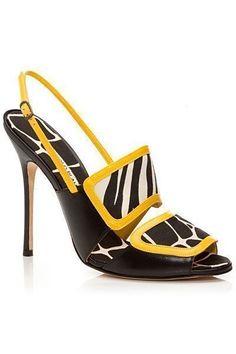 Manolo #blahnik Black & Yellow Slingback Sandal Spring Summer 2014 #Manolos #Shoes #Heels #manoloblahnikyellow #manoloblahnikslingback #manoloblahnikheelsspringsummer