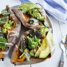 Oh so good and oh so healthy, this recipe for Sweet Potatoes stuffed with broccoli, avocado and Dr. Praeger's Super Green Veggie Burgers is a filling Dr Praeger's, Super Greens, Veggie Burgers, Sweet Potato Recipes, Broccoli, Vegetarian Recipes, Avocado, Veggies, Potatoes
