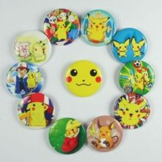 Make center pin?   Ebay:10x Pokemon Pikachu Pins Badges Buttons for party favor
