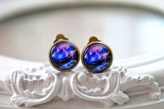 Pretty galaxy clip on earrings space astronomy by DinaFragola