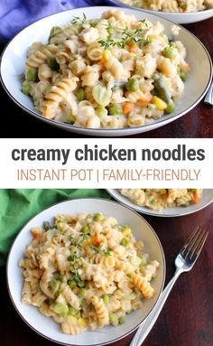 Creamy Instant Pot Chicken & Noodles - Instant Pot Eats - - Creamy and hearty, these Instant Pot chicken and noodles recipe is super easy to prepare and you can use frozen chicken and frozen veggie mix for a no-fuss family dinner. Frozen Chicken Recipes, Chicken Noodle Recipes, Pasta Recipes, Kid Recipes, Chicken And Rotini Recipe, Quick Chicken And Noodles Recipe, Instantpot Chicken Recipes, Crockpot Recipes, Recipies
