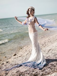Aria Mermaid Shell Starfish Beach Ocean Purple Ombre Nautical Ricky Lindsay Couture Bridal Wedding Evening Fashion Gown Dress, Etsy.