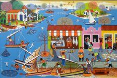 Pesca litorânea. Óleo sobre tela. Antônio Militão dos Santos (Caruaru, PE, Brasil, 15/06/1956 - ). Folk, Painting, Newlyweds, Oil On Canvas, Painting Art, Frames, Saints, Couple, Drawings