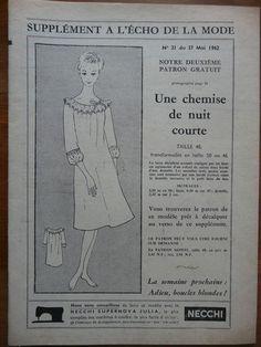 Mode/Couture-Patron l'Echo de la Mode 1962 - Une chemise de nuit courte T 48