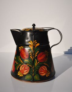 Antique Toleware 1800s Coffee Pot 11-Inch Tin-Ware by FabsAndFaves