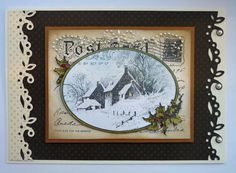 """Stampendous Snowy Postcard, """"added an extra layer of  the coloured holly leaves"""""""