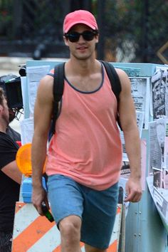 Darren Criss on the set of Versace: American Crime Story in Miami