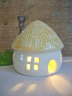 Fairy House  with a Thatched Roof/ Night by SuzannesPotteryFarm, $32.00: