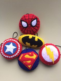 Items similar to Superhero Logo Ornaments on Etsy Felt Ornaments Patterns, Felt Crafts Patterns, Handmade Rakhi, Handmade Felt, Disney Christmas Ornaments, Xmas Ornaments, Hobbies And Crafts, Crafts For Kids, Felt Keychain