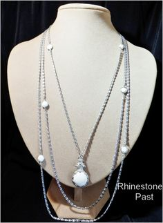 Three Strand Necklace Milk Glass Fob Vintage Jewelry Silver: Rhinestones Past, Vintage Jewelry for Every Age!