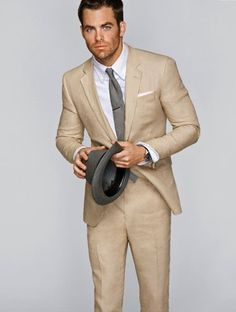 I'm looking for a grey linen suit, but a beige suit and grey tie looks nice too...could also just be Chris Pine that makes this work.