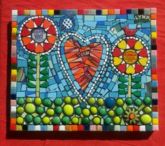"""Love Where the Bubblegrass Grows"" Mosaic by Flair Robinson Mosaic Pots, Mosaic Wall Art, Mosaic Garden, Mosaic Glass, Mosaic Tiles, Stained Glass, Glass Art, Mosaic Crafts, Mosaic Projects"