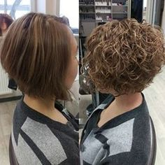 Before and after perm on inverted bob style.