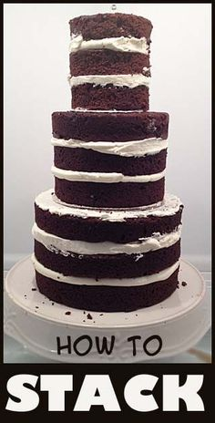 These are simple steps that will help you have a STURDY and perfectly stacked cake. Make sure your layers are level- no amount of frosting will hold your cake straight once you start stacking. If yo