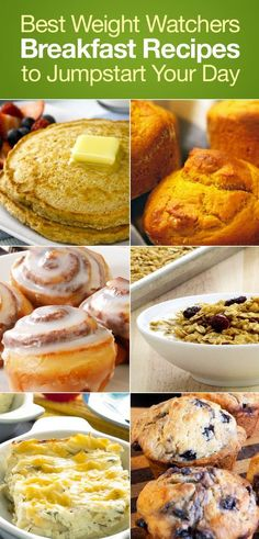 Best Weight Watchers Friendly Breakfast Recipes to Jumpstart Your Day including Pancakes, Blueberry Muffins, Pumpkin Muffins, Banana Bread, Apple Coffee Cake, Cinnamon Rolls and more!