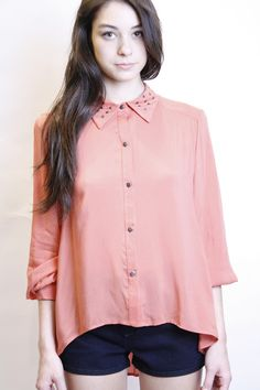 stud collar blouse    while I am not a big fan of studs, I love the lines of this blouse  rf