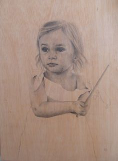 Pencil on Wood. Carlota.